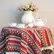 Dining Tablecloth Bohemia Fabric Tablecloth Round Tablecloth 140x100cm for Home Decoration 99
