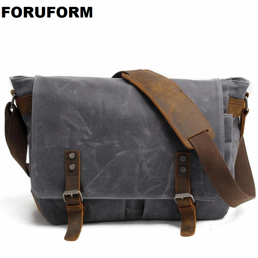 2017 New Men Messenger Bags waterproof Canvas Men vintage Handbags Travel shoulder Bags 14 inch laptop briefcase LI-1488<br>
