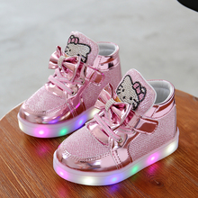 KT Cats Children Shoes 2016 New Spring Autumn Rhinestone Kids Led Shoes Girls Princess Cute Shoes With Light EU 21-30