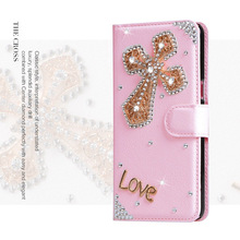 Crystal Cross Women Handmade Diamond Rhinestone Leather Cover Wallet Case For OPPO R7/R9S/R11 Plus/A35/A37/A57/A77/A59/F1S/F3