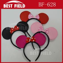 Free shipping 100pcs/lot Kids Mickey Mouse Ears Party Cosplay Bopper / Baby Birthday Mickey Mouse Hairband Girl Headwear