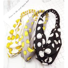 Harajuku Cross Elastic High-grade Fabric Hairbands Sweet Headband Yellow Smiling Face Lovely Headwrap Knotted HeadBand A0