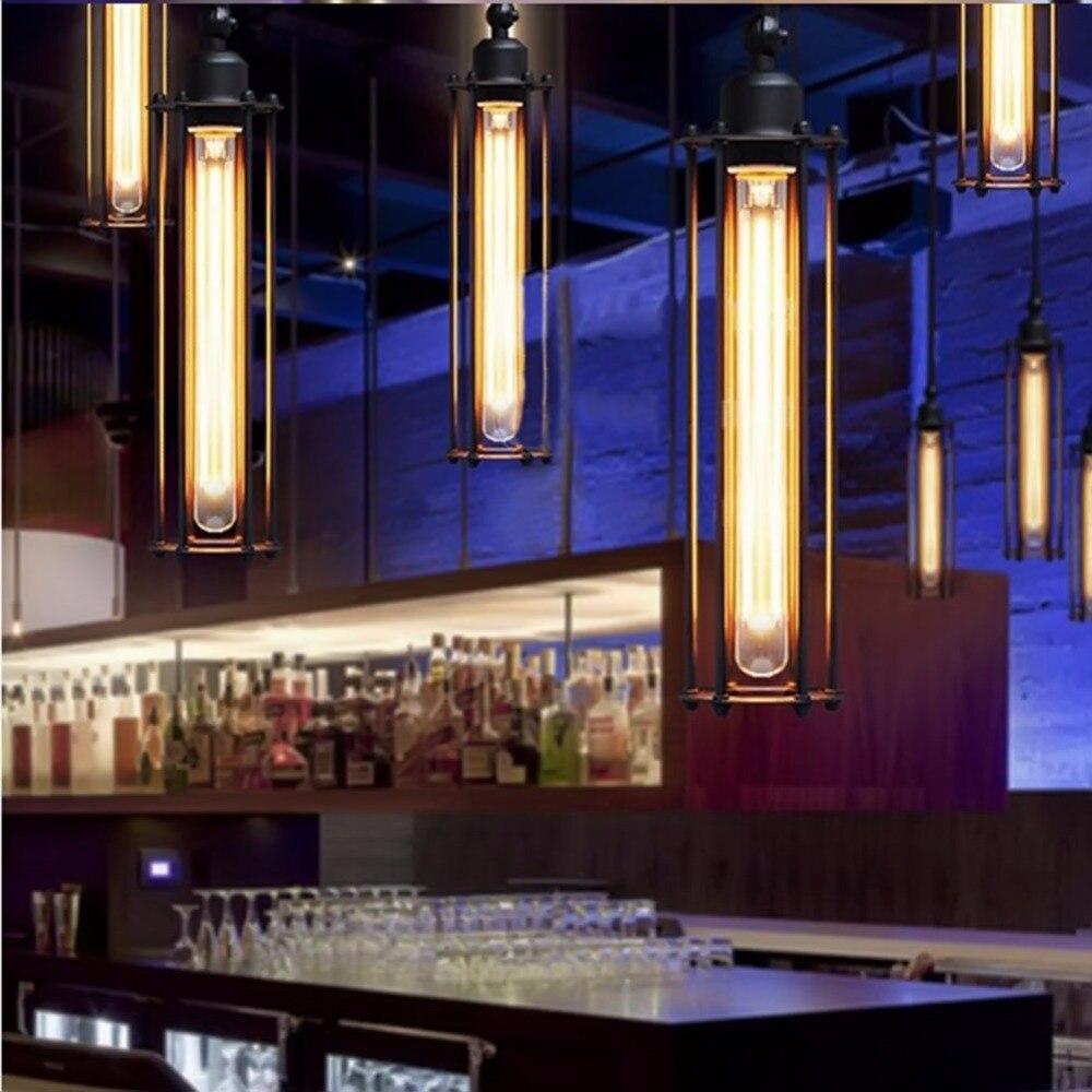 Iron Article Bar Pendant Lights Industrial Restaurant Bar Iron Single Flute Led Lamp Droplight Pendant Lamp By E27 Edison Bulbs<br>
