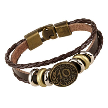 Hot Sale Antique Coin Stud Bracelets Genuine Leather Wrap Bracelet For Men Charm Bangles Stainless Steel Beads Male Jewelry
