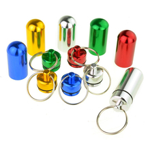 Hot 6pcs Waterproof Aluminum Pill Box Case Bottle Cache Drug Holder Keychain Container Black and red gold and silver blue and