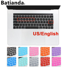 "Batianda US layout English Keyboard Cover Silicone Skinfor 2016 MacBook Pro Retina 13"" 15"" with Touch Bar Protector Sticker"