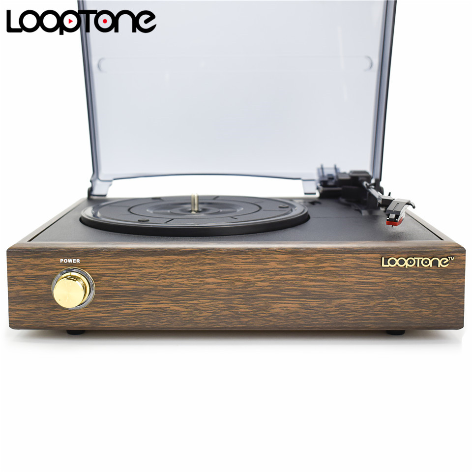 LoopTone Nostalgic Belt-Drive Turntable Vinyl LP Record Player W/ 2 Built-in Speakers 33/45/78RPM PC Link AC110~130V&220~240V
