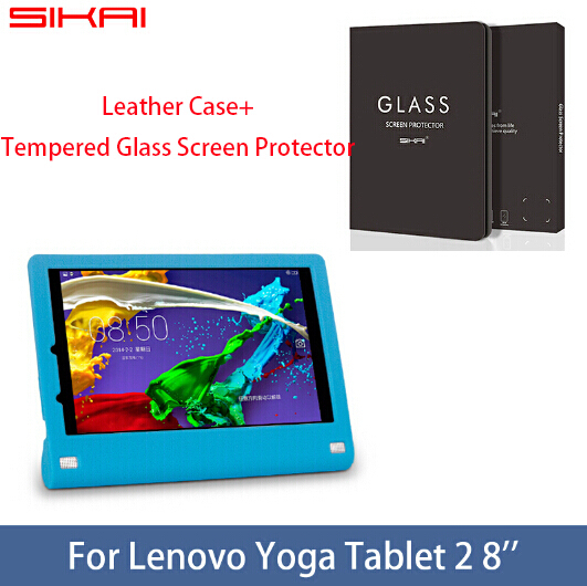 SIKAI Soft Silicon Rubber Protective Cover Shell Case For Lenovo Yoga Tablet 2 8 +Tempered Glass Screen Protector<br><br>Aliexpress