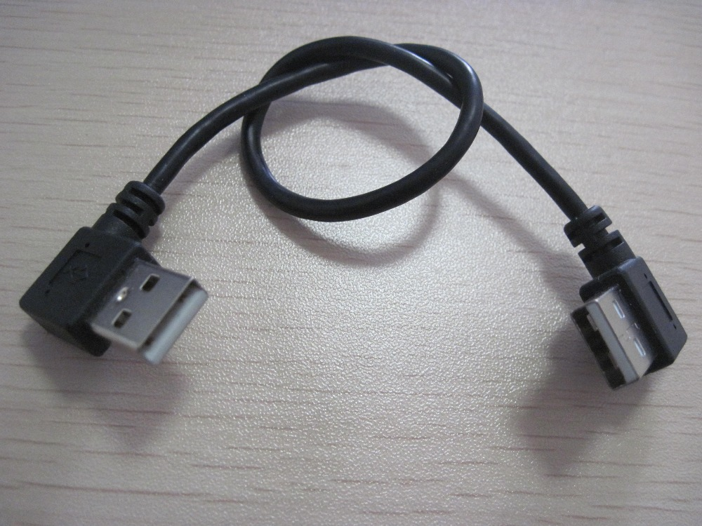 100PCS---Dual Left angle USB data/charging cable cord for cellphone/tablet/PC/laptop 25cm#54