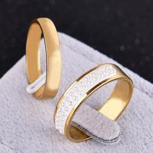 2PCS/set Plus size Wedding Rings for Men and Women gold plated Stainless Steel New Fashion Heart Lovers pearl gold ring (KA0105)