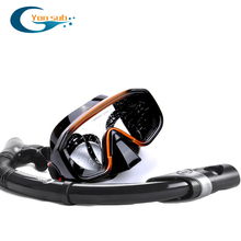 Hot Sale Silicone Professional Adult Diving Set Diving Mask + Dry Snorkel For Underwater Hunting Swimming Mask YM138+YS03(China)