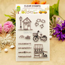 Scrapbook DIY photo cards account rubber stamp clear stamp transparent stamp Cafe House Bird Hoppy Shop  11x16cm KW653007