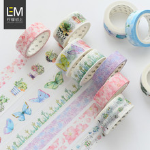 DIY Cute Kawaii Flowers Plants Masking Washi Tape Lovely Decorative Adhesive Tape For Home Decoration Diary School Office Supply(China)