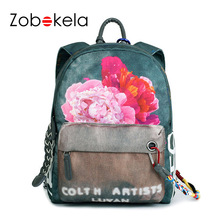 ZOBOKELA Women Backpack Floral Printing Travel Back Pack School Bags Backpacks For Teenage Girls School Bag Designer Backpack