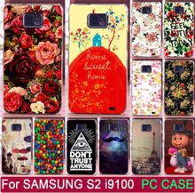 1Pcs Rose Peony Flower Moustache Life Is A Joke Shell For Samsung Galaxy S2 SII i9100 PC Painted Cases Mobile Phone Case Cover(China)