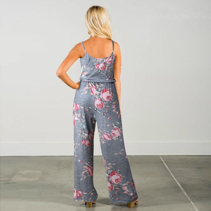 Spaghetti Strap Jumpsuit Women 2018 Summer Long Pants Floral Print Rompers Beach Casual Jumpsuits Sleeveless Sashes Playsuits 11
