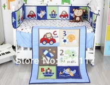 hot sell 2014 New Blue Cars Airplan Boy Baby Crib Cot Bedding Set 3 items Including Comforter Bumper Fitted Sheet(China)