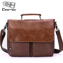 Three Box Brand Fashion Retro Man Bag Business Leather Male Shoulder Bags High-quality Cover Work Large Men's Handbag Crossbody()
