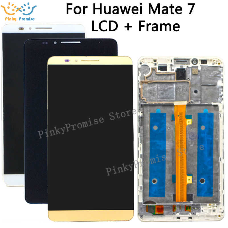 Color : White Black Mobile Phone LCD Screen Replacement for Huawei Mate 7 LCD Screen and Digitizer Full Assembly with Frame