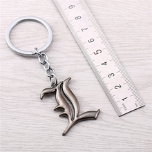 Julie 10Pcs/lot Japanese Anime Death Note Letter L Logo Keychain For Men Jewelry Animation Model Alloy Silver Key Ring Llavero