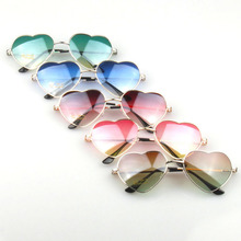 Heart Shaped Sunglasses Women Metal Reflective Mirror Lens Fashion Luxury Sun Glasses Brand Designer For Ladies