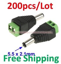 200PCS/LOT 5.5 x 2.1mm DC Power Male Jack to 2 Conductor Screw Down Connector for LED Light Controller