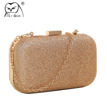UKQLING Gold Box Bag Women Clutch Evening Bags with Chain Ladies Bag Day Clutches Purse and Handbag Sac a Main Phone Package(China)