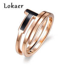 Lokaer Unique 2 Circles Design Titanium Stainless Steel Finger Rings Trendy Rose Gold Color Letter Ring Jewelry For Women anel(China)