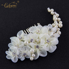 Wedding Anniversary Hair Decoration Bridal Bridesmaid Simulat Pearl Artificial Flower Hair Side Comb Girls Jewelry Prom Accesory(China)