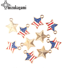 10pcs/lot 15MM Zinc Alloy Stars American Flag Drop Oil Plated Charms Pendants For DIY Jewelry Accessories(China)