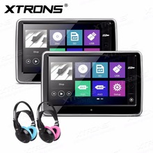 "XTRONS Active Portable Monitors 10.1"" HD Digital TFT Capacitive Touch Screen 1080P Video Car Headrest DVD Player IR+2 Headphones(China)"