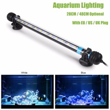 Waterproof LED Aquarium Light 12LED 24LED Blue White Marine Aquarium Pool Pond Led Lighting 28CM 48CM With EU UK US Switch Plug