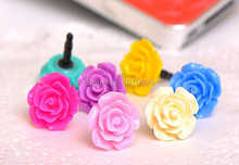 Wholesale 1000pcs rose Dust plug for iphone dust cap for 3.5mm plug mobile phone free shipping