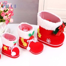 Zilue 5pcs/Lot Christmas Stocking Gift Box Red Cute Shoes Candy Box Ornaments Desktop Christmas Festival Decoration Stocks(China)