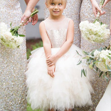 Sparking Sequins Ivory Tulle Flower Girl Dress Puffy Princess Kids Children Junior Bridesmaid dress For Weddings Graduation Gown