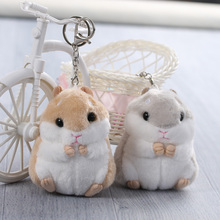 2017 Cute New Trinket Mini Hamster KeyChains Women Fluffy Toy Doll Car Key Ring Keychain Jewelry Gift