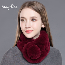 Magelier Women's Real Fur Scarf Winter Warm Natural Rex Rabbit Fur Big Long Scarves Fashion Brand New Arrival WJ005(China)