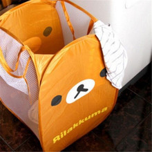 FD4304 new  Cartoon Rilakkuma Relax Brown Bear Laundry Bag Foldable Storage Basket