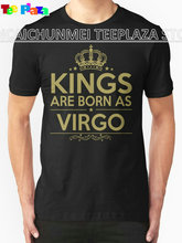 2017 Rushed Direct Selling Print Teeplaza Custom Design Shirts Men's Short Sleeve Printing O-neck Kings Are Born As Virgo Shirt