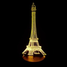 Paris Eiffel Tower Figurine Statue Lamp 7 Color Changing Illusion Visual Nightlight Festival Lantern Glow Christmas Party Favors
