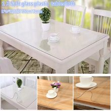 120*80cm Soft Glass PlasticTablecloth Transparent Table Cloth Mat Waterproof PVC Table Runner Kitchen Dining Table Decoration
