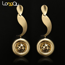 Trendy Jewellery Gold Color Bridal Wedding Jewelry For Women Gold Color Pendents Necklace Geometric Earrings Sets(China)