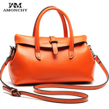 AMONCHY Brand 100% Women Genuine Leather Bags Luxury Cowhide Handbags Wild Ladies Shoulder Bags Designer Brand Office Tote Bag