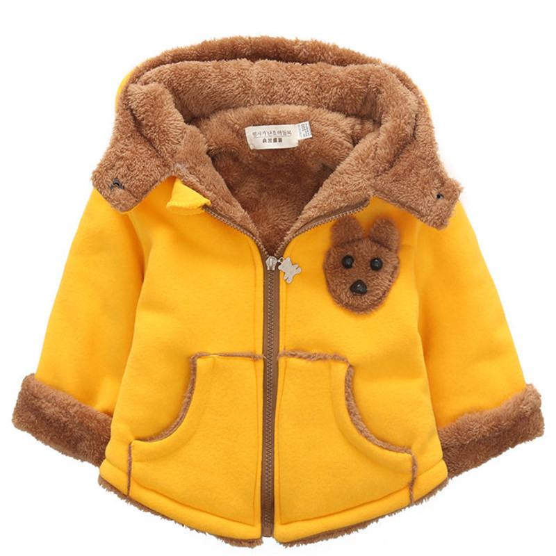 2017 Winter Boys Girls Down Coat Kids Cute Beer Fashion Hooded Children Korean Jacket Baby Boys Thick Clothes Suit<br>