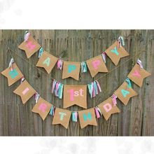 Colourful painting Burlap Bunting,Baby Shower party Decoration kids 1st birthday party garland cowry scarce burlap banner flags