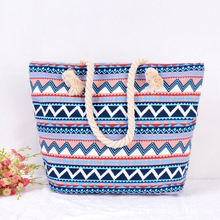 Ethnic Printing Women Canvas Beach Bag New Travel And Diving Zipper Bags Hot Female Shopping Tote Beach Swimming Bag(China)