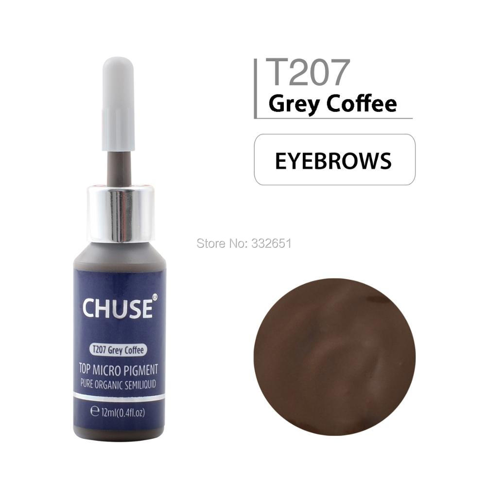 CHUSE T207 Grey Coffee Microblading Micro Pigment Permanent Makeup Tattoo Ink Cosmetic Color Passed SGS,DermaTest 12ml(0.4fl.oz<br>