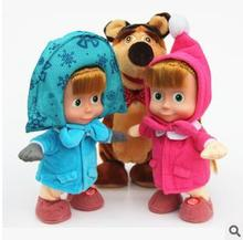 New Arrival Masha And The Bear Russian Language Doll Musical Dancing Talk Dolls Plush Toys Birthday Christmas Gifts For Children
