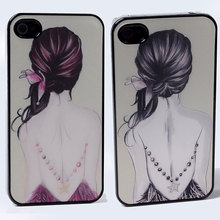 CHOOSE DYNAMIC Film Effect long hair lovely girl back jewelry star pendant PC Hard Back Shell Cover Case For iphone 4 4S 4G