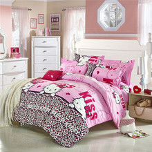 Free shipping pink hello kitty cartoon Bedding Set bed linen for children Queen size Quilt Duvet Cover Pillow
